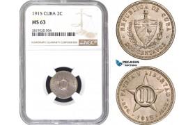 AB771, Cuba, 2 Centavos 1915, Philadelphia, NGC MS63