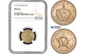AB772, Cuba, 5 Centavos 1916, Philadelphia, NGC MS64
