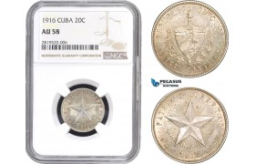 AB773, Cuba, 20 Centavos 1916, Philadelphia, Silver, NGC AU58
