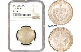 AB774, Cuba, 40 Centavos 1915, Low Relief, Philadelphia, Silver, NGC AU58
