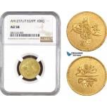 AB777, Ottoman Empire, Egypt, Abdulaziz, 100 Qirsh AH1277/7, Misr, Gold, NGC AU58