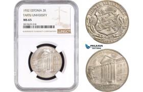 AB778, Estonia, 2 Krooni 1932, Silver, NGC MS65