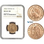 AB779, France, Napoleon III, 5 Centimes 1856-A, Paris, NGC MS64+ RB, Pop 1/0
