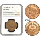 AB780, France, Third Republic, 10 Centimes 1897-A, Paris, NGC MS64RB