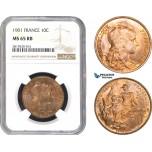 AB781, France, Third Republic, 10 Centimes 1901, Paris, NGC MS65RB, Pop 1/0