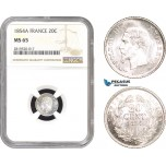 AB782, France, Napoleon III, 20 Centimes 1854-A, Paris, Silver, NGC MS65