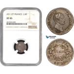 AB783, France, Napoleon, 1/4 Franc AN 12-T, Nantes, Silver, NGC XF45