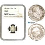 AB785, France, Napoleon, 1/4 Franc 1809-A, Paris, Silver, NGC MS63