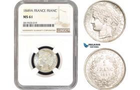 AB787, France, Second Republic, 1 Franc 1849-A, Paris, Silver, NGC MS61