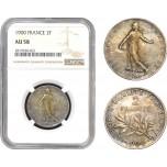 AB788, France, Third Republic, 2 Francs 1900, Paris, Silver, NGC AU58