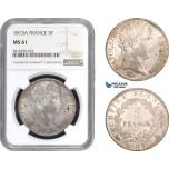 AB789, France, Napoleon, 5 Francs 1813-A, Paris, Silver, NGC MS61