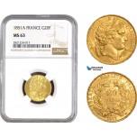 AB792, France, Second Republic, 20 Francs 1851-A, Paris, Gold, NGC MS63