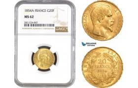 AB793, France, Napoleon III, 20 Francs 1854-A, Paris, Gold, NGC MS62