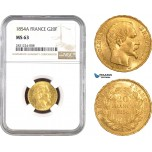 AB794, France, Napoleon III, 20 Francs 1854-A, Paris, Gold, NGC MS63