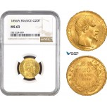 AB795, France, Napoleon III, 20 Francs 1856-A, Paris, Gold, NGC MS63