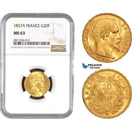 AB798, France, Napoleon III, 20 Francs 1857-A, Paris, Gold, NGC MS63