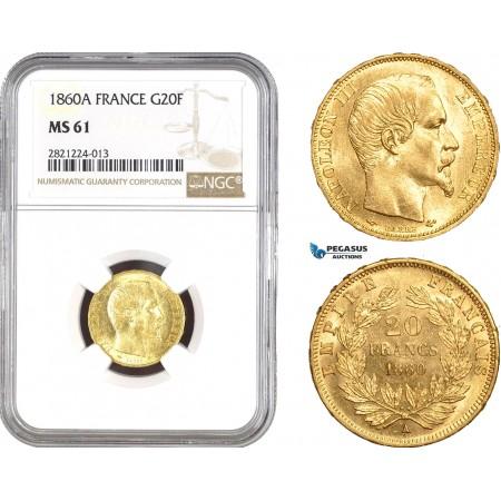AB799, France, Napoleon III, 20 Francs 1860-A, Paris, Gold, NGC MS61