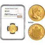 AB800, France, Napoleon III, 20 Francs 1863-BB, Strasbourg, Gold, NGC MS64+