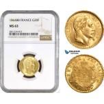 AB801, France, Napoleon III, 20 Francs 1864-BB (Small) Strasbourg, Gold, NGC MS63