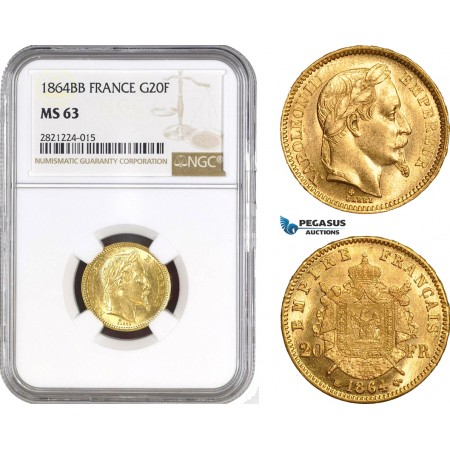 AB801, France, Napoleon III, 20 Francs 1864-BB (Small) Strasbourg, Gold, NGC MS63