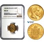 AB802, France, Napoleon III, 20 Francs 1865-BB, Strasbourg, Gold, NGC MS64