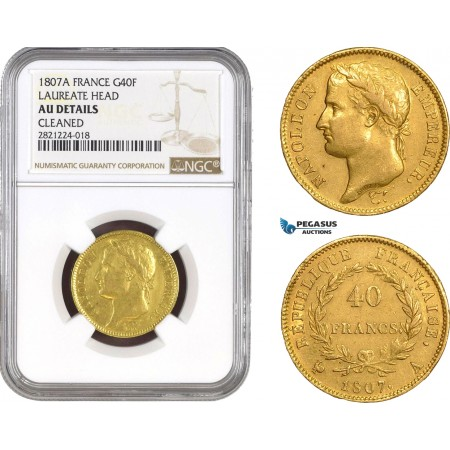 "AB803, France, Napoleon, 40 Francs 1807-A, Paris, Gold ""Laureate Head"" NGC AU Details, Rare!"
