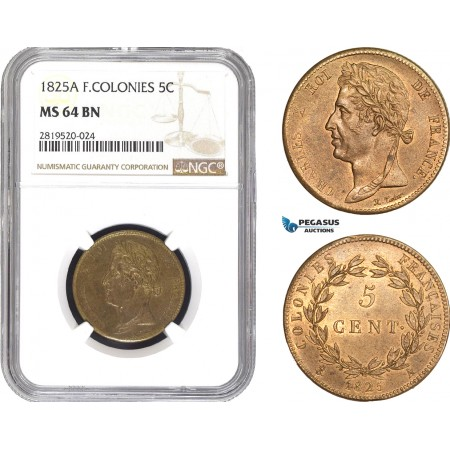 AB804, French Colonies, Charles X, 5 Centimes 1825-A, Paris, NGC MS64BN