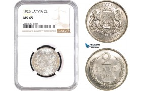 AB806, Latvia, 2 Lati 1926, Silver, NGC MS65, Pop 8/0