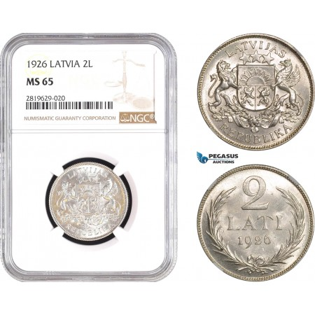 AB806, Latvia, 2 Lati 1926, Silver, NGC MS65, Pop 8/0
