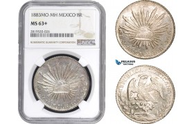 AB808, Mexico, 8 Reales 1883 Mo MH, Mexico City, Silver, NGC MS63+