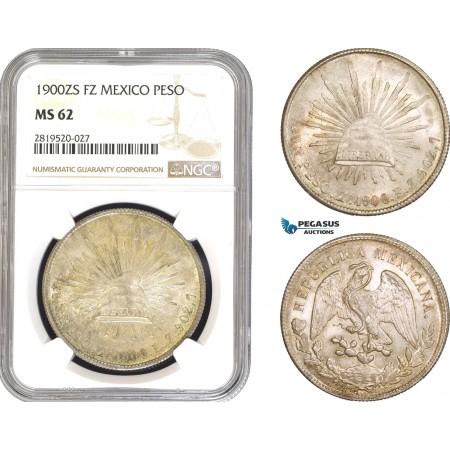 AB809, Mexico, Peso 1902 Zs FZ, Zacatecas, Silver, NGC MS62