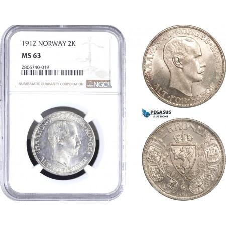 AB810, Norway, Haakon VII, 2 Kroner 1912, Kongsberg, Silver, NGC MS63
