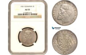 AB813, Romania, Carol I, 2 Lei 1901, Hamburg, Silver, NGC AU55, Very Rare!