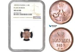AB817, Russia, Alexander II, 1/4 Kopek 1859 EM, Ekaterinburg, NGC MS64RB, Pop 1/0