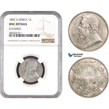 AB820, South Africa (ZAR) 1 Shilling 1892, Berlin, Silver, NGC UNC Details
