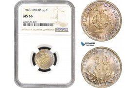 AB824, Timor (Portuguese) 50 Avos 1945, Silver, NGC MS66, Pop 3/0