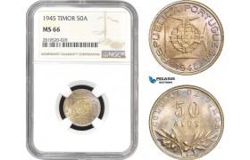 AB824, Timor (Portuguese) 50 Avos 1945, Silver, NGC MS66, Pop 3/0