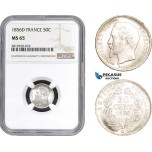 AB827, France, Napoleon III, 50 Centimes 1856-D, Lyon, Silver, NGC MS65, Pop 1/0
