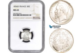 AB827, France, Napoleon III, 50 Centimes 1856-D, Lyon, Silver, NGC MS65, Pop 1/0