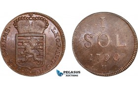 AB830, Luxembourg, Leopold II of Austria, 1 Sol 1790-H, Günzburg, Lustrous AU
