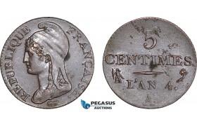 AB833, France, First Republic, 5 Centimes L'an 4-A, Paris, Lustrous AU (SUP)