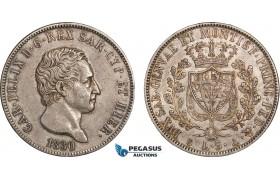 AB837, Italy, Sardinia, Carlo Felice, 5 Lire 1830-P, Genoa, Silver, Toned aXF