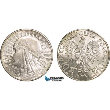 AB838, Poland, 10 Zlotych 1932, Silver, AU-UNC (Few scratches)