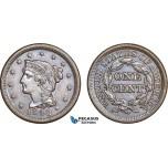 AB841, United States, Braided Hair Cent 1848, Philadelphia, Lustrous AU