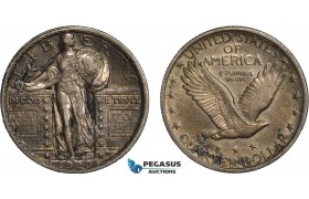 AB844-R, United States, Standing Liberty Quarter (25C) 1920, Philadelphia, Silver, Toned XF