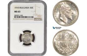 AB848, Bulgaria, Ferdinand I, 50 Stotinki 1910, IIA in stead HA, Silver, NGC MS63