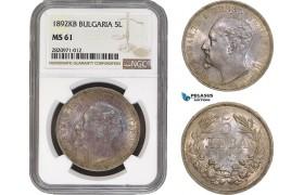 AB851, Bulgaria, Ferdinand, 5 Leva 1892 KB, Kremnitz, Silver, NGC MS61, Rare! Pop 2/0