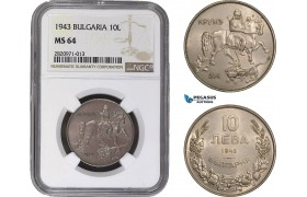 AB852, Bulgaria, Boris III, 10 Leva 1943, NGC MS64