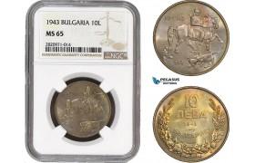 AB853, Bulgaria, Boris III, 10 Leva 1943, NGC MS65