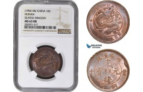 AB856, China, Hunan, 10 Cash ND (1902-06) Seated Dragon, NGC MS63RB